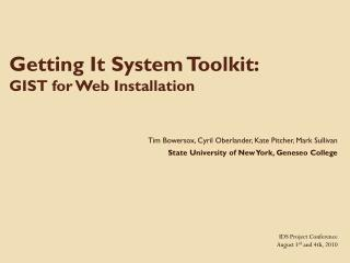 Getting It System Toolkit:   GIST for Web Installation