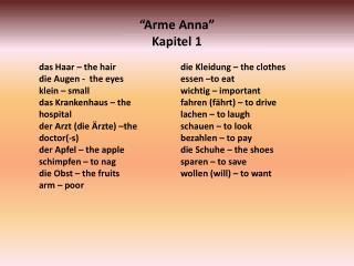 """""""Arme Anna"""" Kapitel 1"""