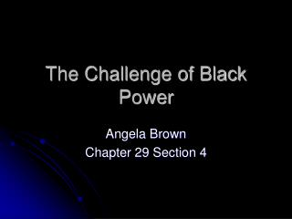 The Challenge of Black Power