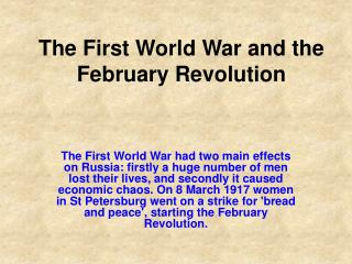 The First World War and the February Revolution