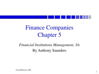 Finance Companies Chapter 5