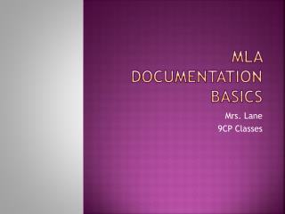 MLA Documentation  Basics