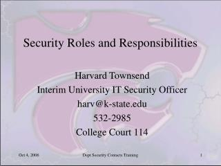 Security Roles and Responsibilities