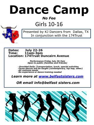 Dance Camp  N o Fee Girls 10-16