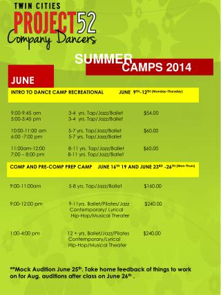 INTRO TO DANCE CAMP RECREATIONAL           JUNE  9 TH -12 TH (Monday-Thursday)
