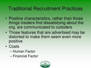 Traditional Recruitment Practices
