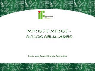 MITOSE E MEIOSE - CICLOS CELULARES