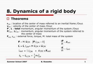 8. Dynamics of a rigid body