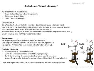 "Drehschemel- Versuch ""Schwung"""