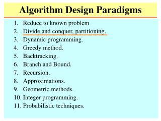 Algorithm Design Paradigms
