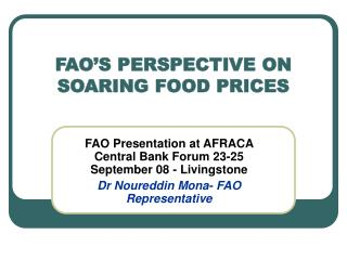 FAO'S PERSPECTIVE ON SOARING FOOD PRICES