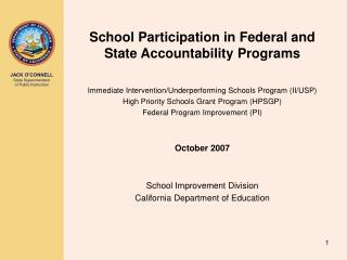 School Participation in Federal and State Accountability Programs