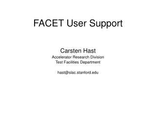 FACET User Support