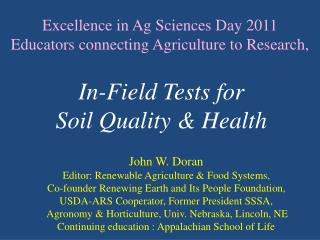 Excellence in Ag Sciences Day 2011 Educators connecting Agriculture to Research,