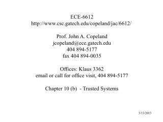 ECE-6612  csc.gatech / copeland / jac /6612/  Prof. John A. Copeland