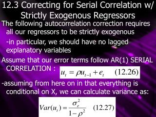 12.3 Correcting for Serial Correlation w