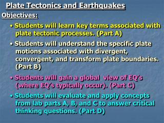 Plate Tectonics and Earthquakes
