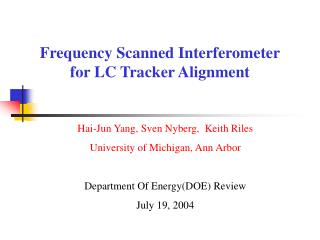 Frequency Scanned Interferometer for LC Tracker Alignment