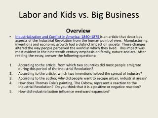 Labor and Kids vs. Big Business