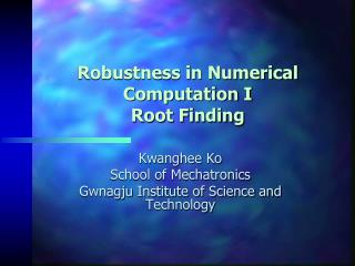 Robustness in Numerical Computation I Root Finding