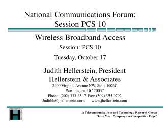 National Communications Forum: Session PCS 10