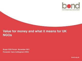 Value for money and what it means for UK NGOs