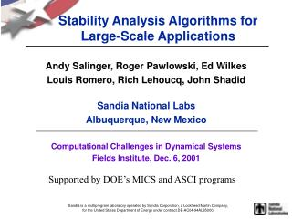 Stability Analysis Algorithms for Large-Scale Applications