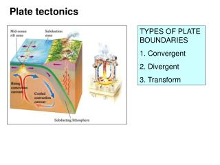 TYPES OF PLATE BOUNDARIES 1. Convergent  2. Divergent 3. Transform