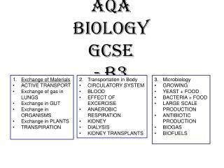 AQA Biology GCSE - B3