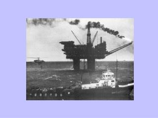 An oil rig in the Brent field of the North Sea, and the 'flying doctor' helicopter service