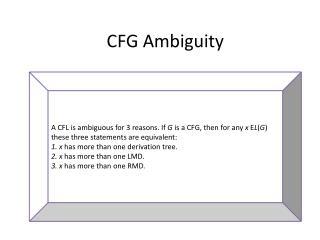CFG Ambiguity