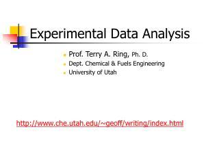 Experimental Data Analysis