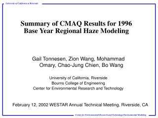 Summary of CMAQ Results for 1996 Base Year Regional Haze Modeling