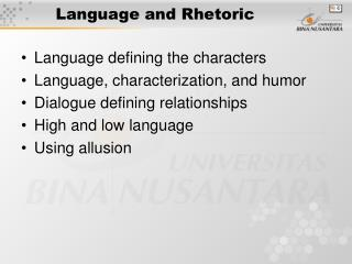 Language and Rhetoric