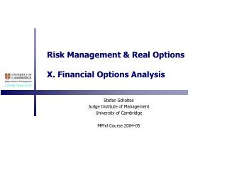 Risk Management  Real Options  X. Financial Options Analysis