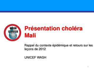 Présentation choléra Mali Rappel du contexte épidémique et retours sur les leçons de 2012