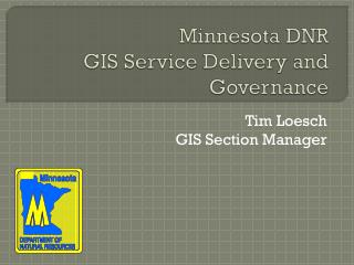 Minnesota DNR GIS Service Delivery and Governance