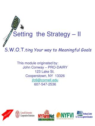 S.W.O.T.ting Your way to Meaningful Goals
