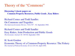 "Theory of the ""Commons"""