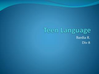 Teen Language