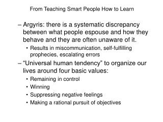 From Teaching Smart People How to Learn