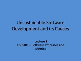 Unsustainable Software Development and its Causes