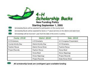 4-H Scholarship Bucks