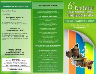 CEREMONIA DE INAUGURACIÓN Viernes 30 de Marzo 9:00 a 10:00 Bienvenida y Mensaje de Inauguración