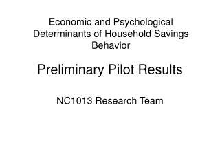 Preliminary Pilot Results