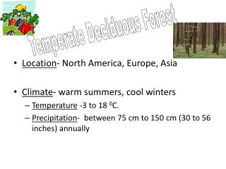 Location - North America, Europe, Asia Climate - warm summers, cool winters