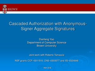 Cascaded Authorization with Anonymous-Signer Aggregate Signatures