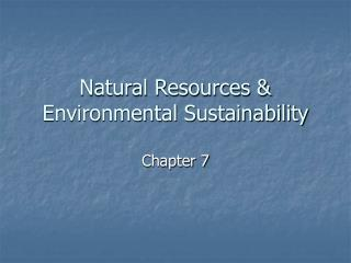 Natural Resources & Environmental Sustainability