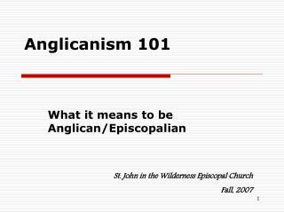 Anglicanism 101