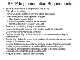 SFTP Implementation Requirements